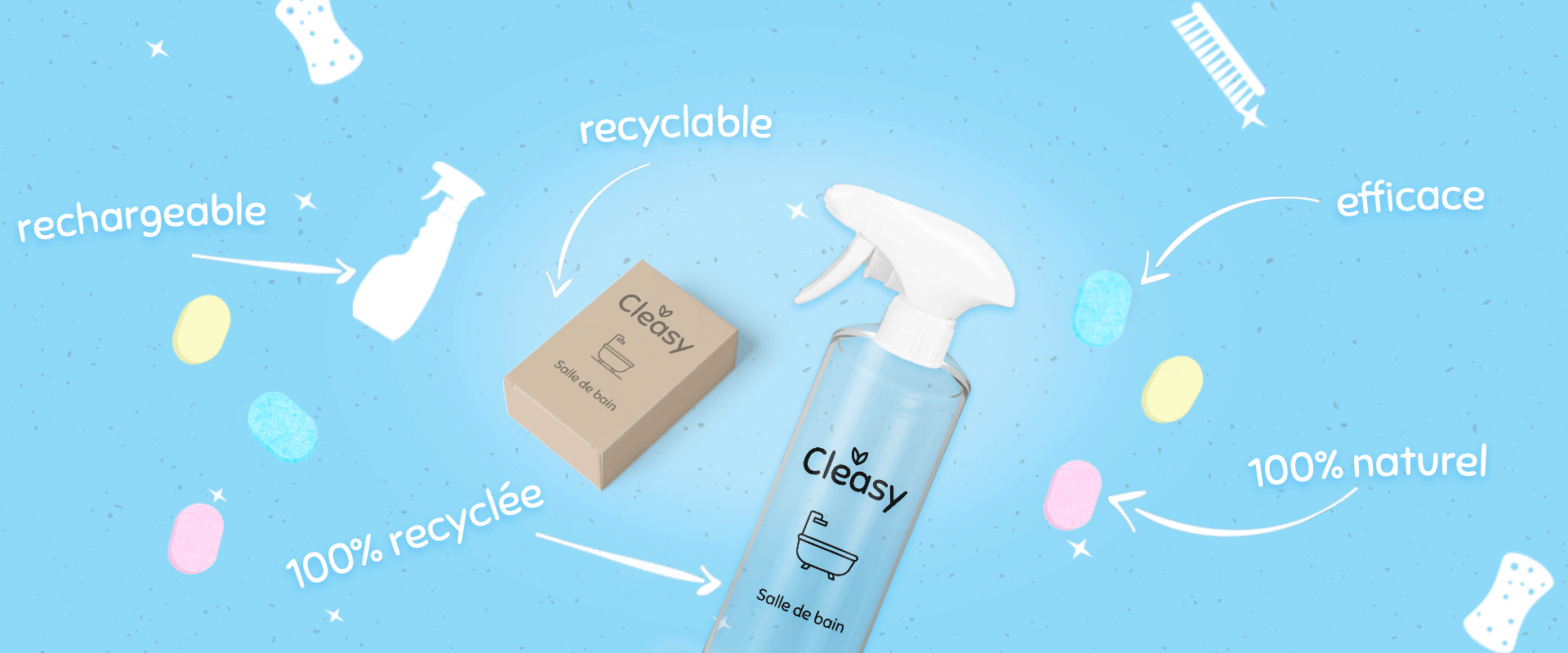 bannière bleue de cleasy avec produits nettoyants naturels en pastilles